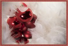 Marry Christmas greeting card red white decoration Royalty Free Stock Photos