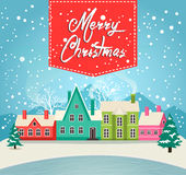Marry Christmas greeting card with village. Marry Christmas greeting card vector illustration. Houses in snowfall, rural winter landscape at holiday eve. Xmas Stock Photography