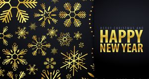 Marry Christmas and Happy New Year banner on dark background with snowflakes. Vector illustration. Marry Christmas and Happy New Year banner on dark background vector illustration