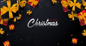 Marry Christmas and Happy New Year banner on dark background. Vector illustration. Royalty Free Stock Photo
