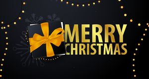 Marry Christmas and Happy New Year banner on dark background. Vector illustration. Royalty Free Stock Images
