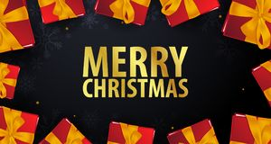 Marry Christmas and Happy New Year banner on dark background. Vector illustration. Royalty Free Stock Photography