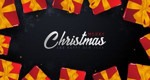 Marry Christmas and Happy New Year banner on dark background. Vector illustration. Stock Image