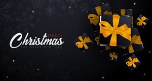Marry Christmas and Happy New Year banner on dark background. Vector illustration. Stock Photography