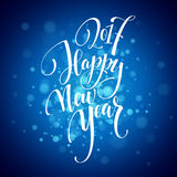 Marry Christmas and Happy New Year 2017 lettering . Christmas vector illustration with realistic bokeh, lights Stock Photography