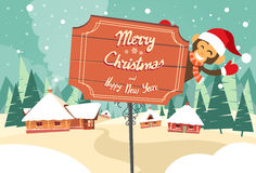 Marry Christmas Happy New Year Road Sign Monkey. Happy Smile Wearing Santa Hat Winter House Snow Forest Flat Vector Illustration royalty free illustration
