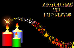 Marry Christmas Happy new year 2015 shooting star Stock Photography