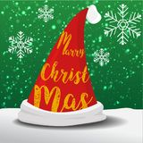 Marry christmas hat santa. Marry christmas hat of santa vector graphic and snow fall background Royalty Free Stock Image