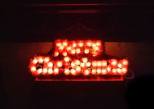 Marry Christmas light. Abstract light text for new year stock photo