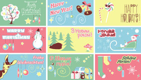 Merry Christmas New Year Holidays. Humor. It contains an inscription in German, Finnish, Ukrainian and Russian. Translations: Merry Christmas!, Happy New Year Stock Photos