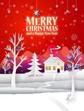 Christmas paper poster. Marry Christmas paper poster with hand cut paper landscape and hipster text greetings. Happy New Year paper art card with winter house Stock Images