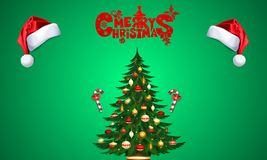 Marry christmas, post with santa hats and christmas tree with candies, over green background royalty free illustration