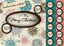 Marry Christmas poster with seamless texture. Stock Image