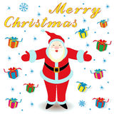 Marry Christmas with Santa Claus and gifts Stock Image