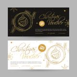 Marry Christmas Voucher design with 10% discount offer, Christma. S Ornaments decorated coupon in two color option vector illustration