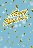 Marry christmas. Wealth. Falling money. Royalty Free Stock Photos