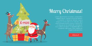 Marry Christmas Web Banner. Presents with Santa. Marry Christmas web banner. Decor and presents with Santa Claus. Deers helpers decorate fir tree. Making Royalty Free Stock Images