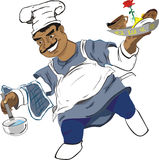 Marry cook. Happy picture with marry chef Stock Photos