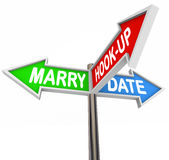 Marry Date Hook Up One Night Stand Dating Choice Signs. Marry, Date and Hook Up words on three arrow signs to illustrate choice or goals in relationship and Royalty Free Stock Images