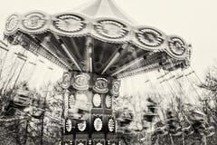 Marry går rundan i den svartvita parkera fotografering för bildbyråer