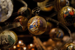 Marry with her son Jesus on christmas ball Royalty Free Stock Photos