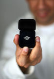 Marry Me?. A man proposing on his knee, holding up a diamond engagement ring Royalty Free Stock Photos
