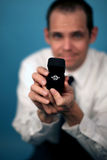 Marry me?. A man proposing and holding up an engagement ring Stock Image