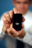 Marry me?. A man proposing and holding up an engagement ring Stock Photos