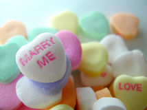 Marry Me. Candy conversation heart royalty free stock image