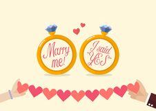Free Marry Me And I Said Yes With Hands Holding Line Paper Of Hearts Royalty Free Stock Image - 185124616