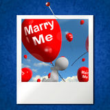 Marry Me Balloons Photo Represents Engagement Proposal for Lover Stock Image