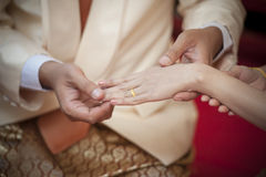 Marry me. Groom put a ring on finger of his lovely wife Stock Photos