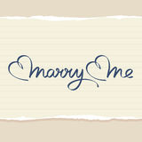 Marry me hand lettering. Handmade calligraphy Royalty Free Stock Photo