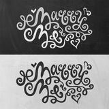 Marry Me hand lettering. Handmade calligraphy, vector Stock Photos