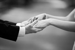 Marry me!. Newly wed couple holding hands, marry me Royalty Free Stock Photos