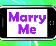 Marry Me On Phone Means Wedding Proposal Stock Images