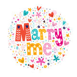 Marry me retro typography lettering decorative text design Royalty Free Stock Photography