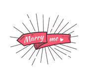 Marry me. The text on the hand drawn ribbon. Vector illustration Stock Images