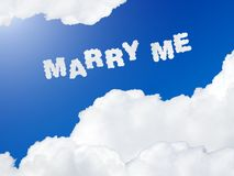 Marry me text in the sky Stock Images