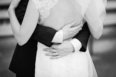 Marry me toady. Hold me, trust me, marry me today, newly wed couple in black and white Royalty Free Stock Image
