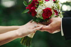 Marry me today and everyday. Hands of a wedding caucasian couple Royalty Free Stock Photo