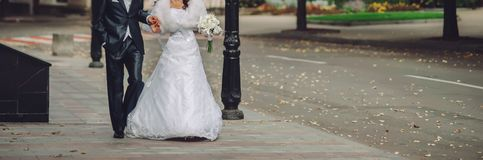 Happy wedding, bride and groom together royalty free stock photo