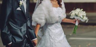 Happy wedding, bride and groom together stock photos