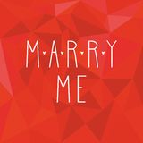 Marry me vector card with on red wrapping surface background Stock Images