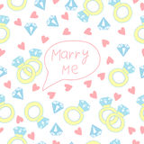 Marry me. Wedding seamless pattern with ring Stock Photos