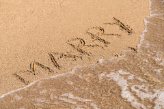 Marry Me Word On Sunny Summer Beach Sand Royalty Free Stock Image