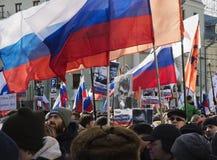 Mars à la mémoire de Boris Nemtsov le 27 février 2016 Images libres de droits