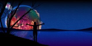 Mars är en brännhet planetkontur av en person stock illustrationer