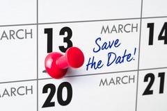 13 mars Image libre de droits