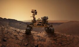 Free Mars 2020 Perseverance Rover Is Exploring Surface Of Mars. Perseverance Rover Mission Mars Exploration Of Red Planet. Space Royalty Free Stock Image - 211250356